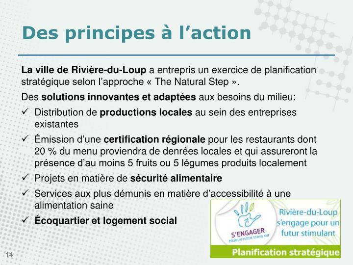 Des principes à l'action