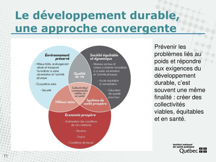 Le développement durable, une approche convergente