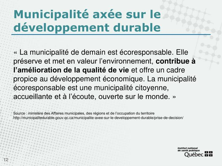 Municipalité axée sur le développement durable