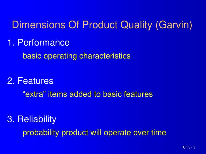 Dimensions of product quality garvin