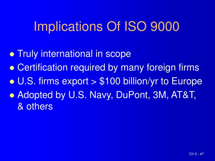 Implications Of ISO 9000