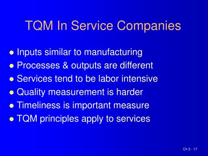 TQM In Service Companies