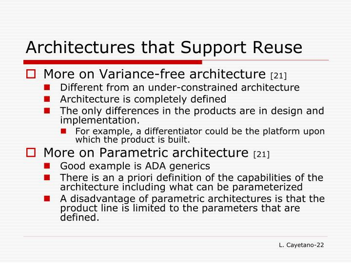 Architectures that Support Reuse