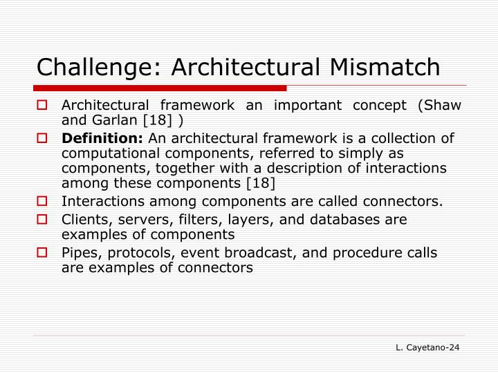 Challenge: Architectural Mismatch