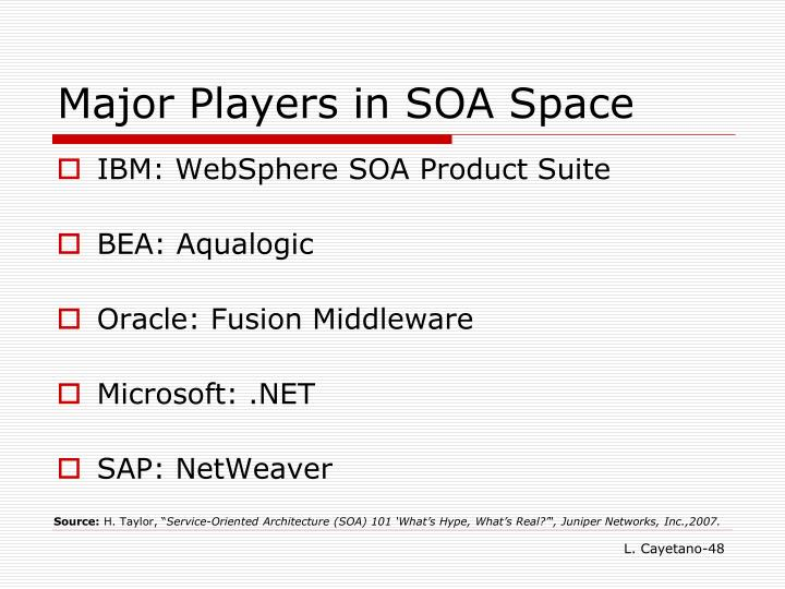 Major Players in SOA Space