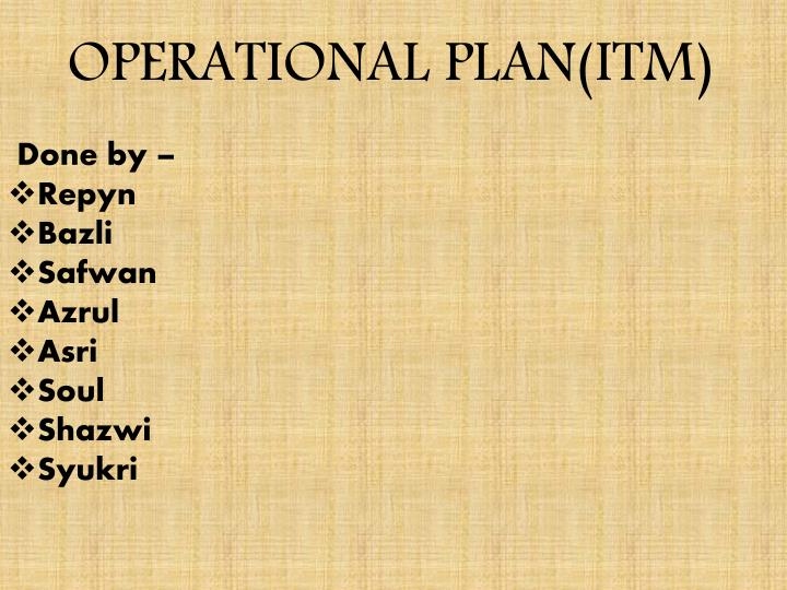 operational plan itm n.