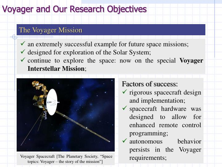 Voyager and Our Research Objectives