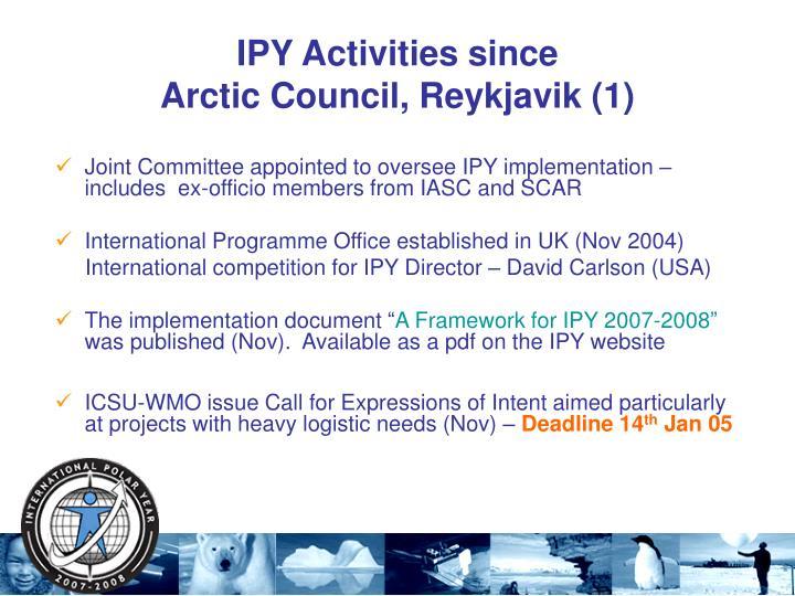 IPY Activities since