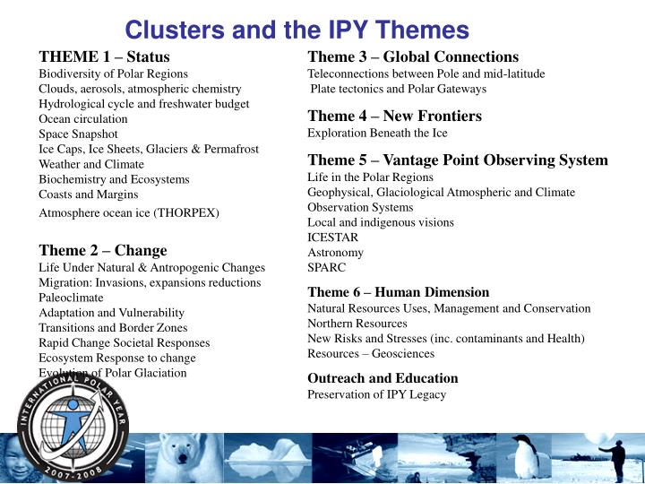 Clusters and the IPY Themes