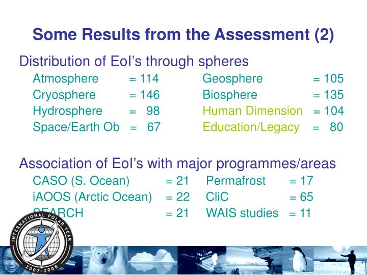 Some Results from the Assessment (2)