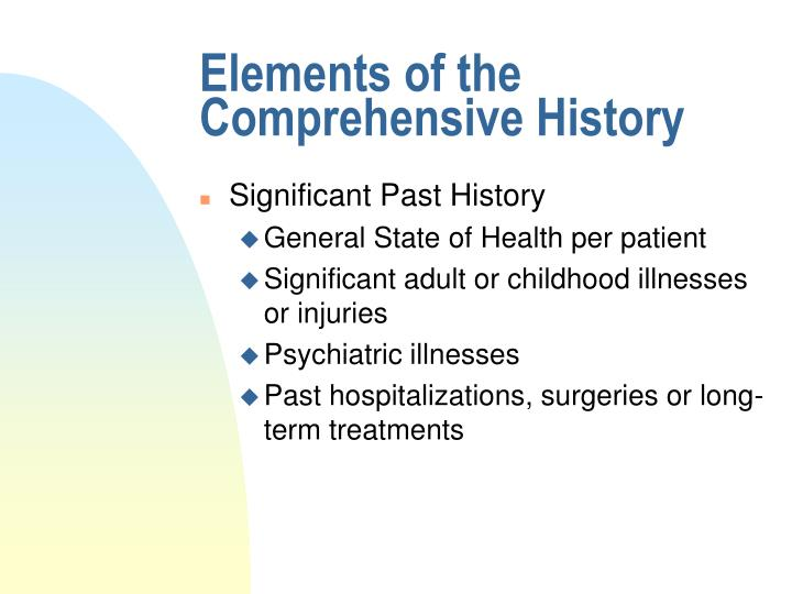 Elements of the Comprehensive History
