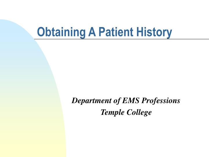 obtaining a patient history n.