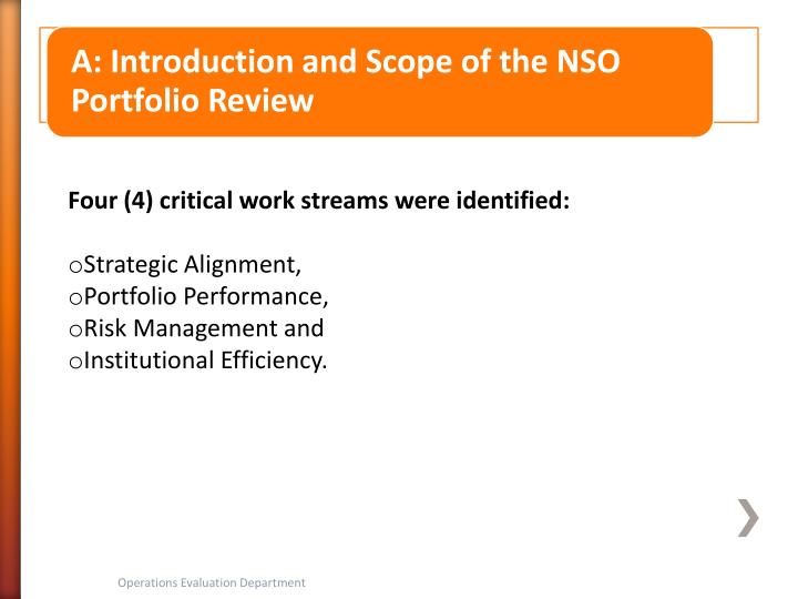Four (4) critical work streams were identified: