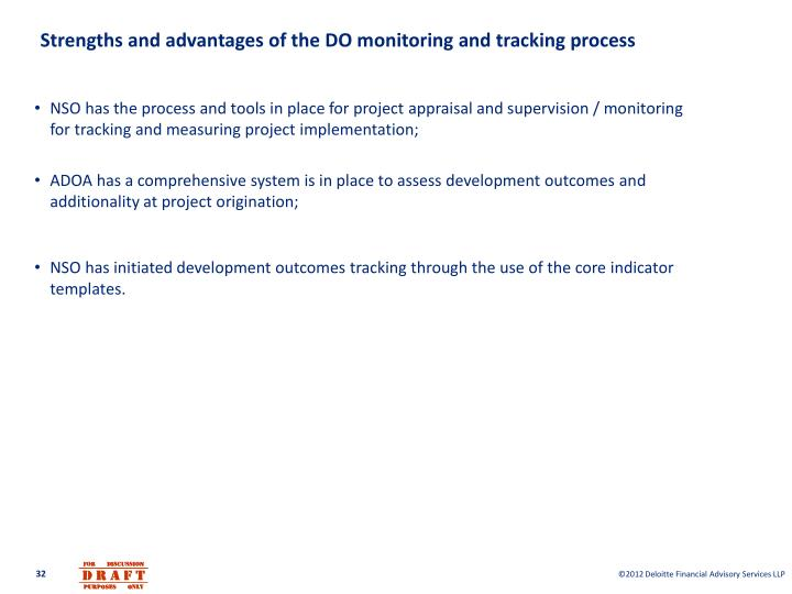 Strengths and advantages of the DO monitoring and tracking process