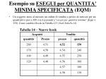 esempio su esegui per quantita minima specificata eqm