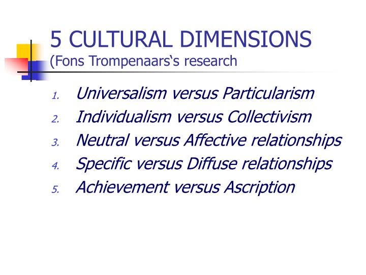 trompenaars specific versus diffuse american Trompenaars essays: american history specific versus diffuse a specific culture is one in which individuals have a large public space they readily let.