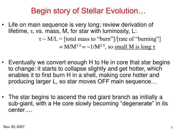 begin story of stellar evolution n.
