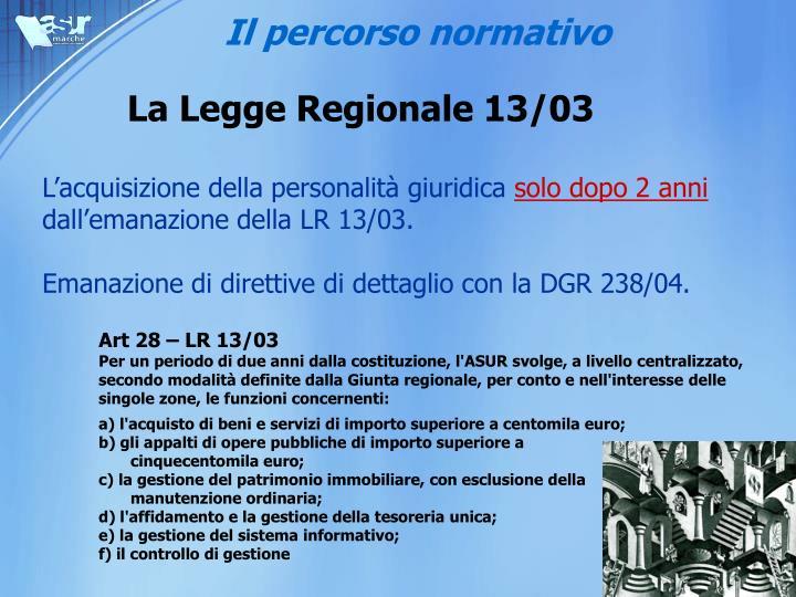 La legge regionale 13 03