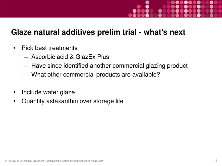 Glaze natural additives prelim trial - what's next