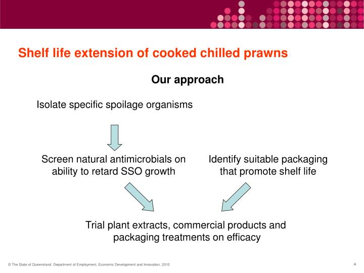 Shelf life extension of cooked chilled prawns