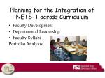planning for the integration of nets t across curriculum