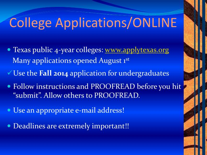 College Applications/ONLINE