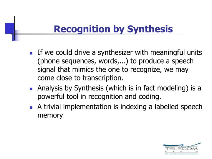 Recognition by Synthesis