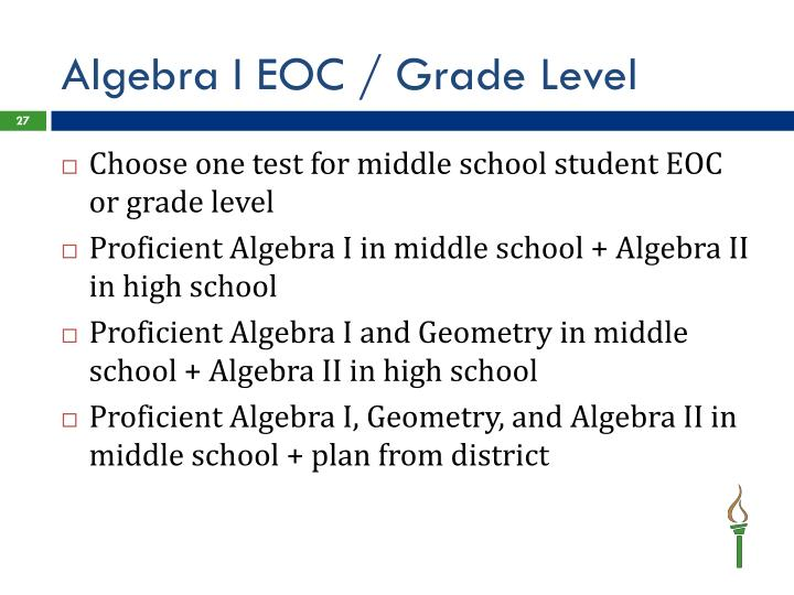 Algebra I EOC / Grade Level