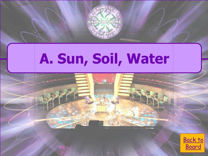 A. Sun, Soil, Water
