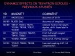 dynamic effects in tevatron dipoles previous studies