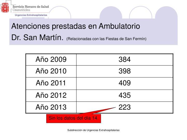 Atenciones prestadas en ambulatorio dr san mart n relacionadas con las fiestas de san ferm n