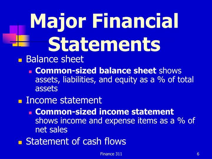 Major Financial Statements