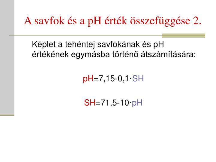 A savfok és a pH érték összefüggése 2.