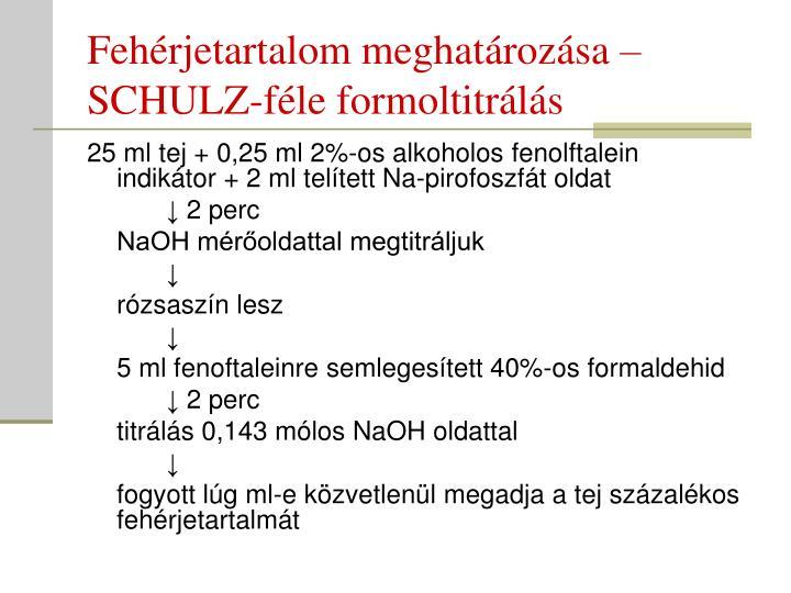 Fehérjetartalom meghatározása – SCHULZ-féle formoltitrálás