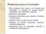 propuestas para el encuentro