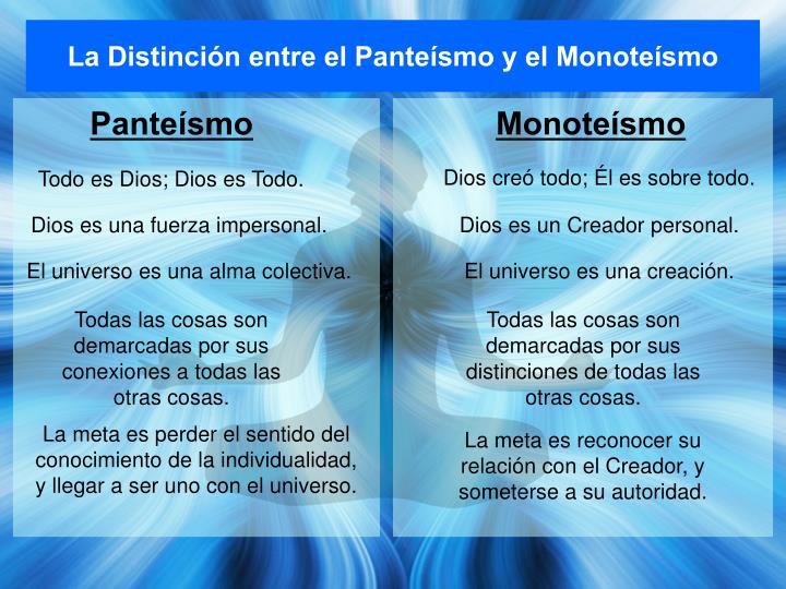 La Distinción entre el Panteísmo y el Monoteísmo
