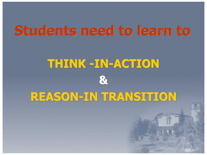 Students need to learn to