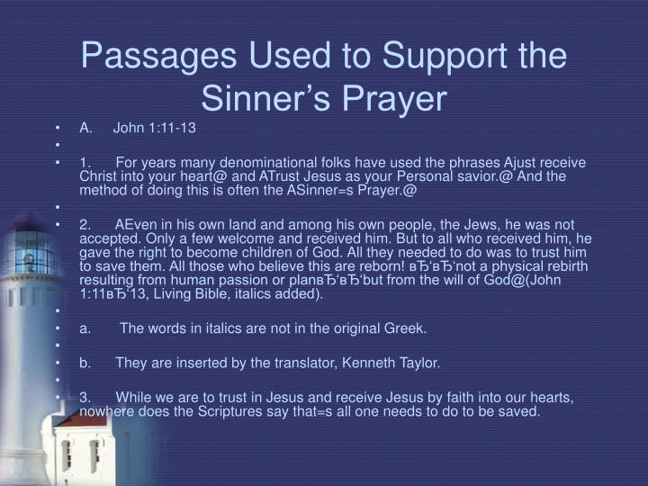 Passages Used to Support the Sinner's Prayer