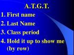 a t g t