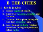 e the cities