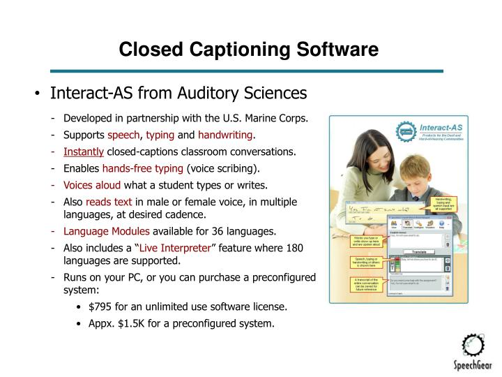 Closed Captioning Software
