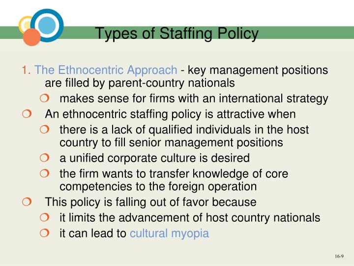 Advantages of polycentric staffing Policy