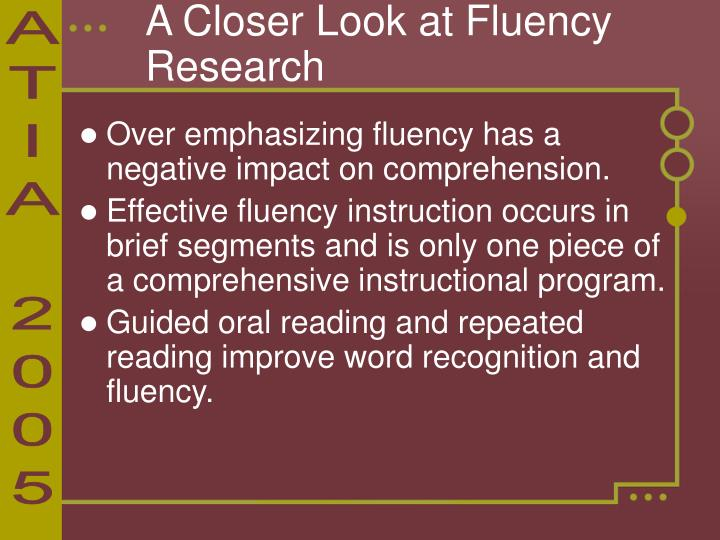 A Closer Look at Fluency Research