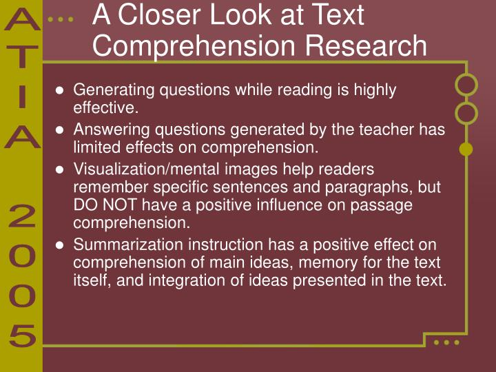 A Closer Look at Text Comprehension Research