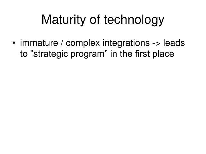 Maturity of technology