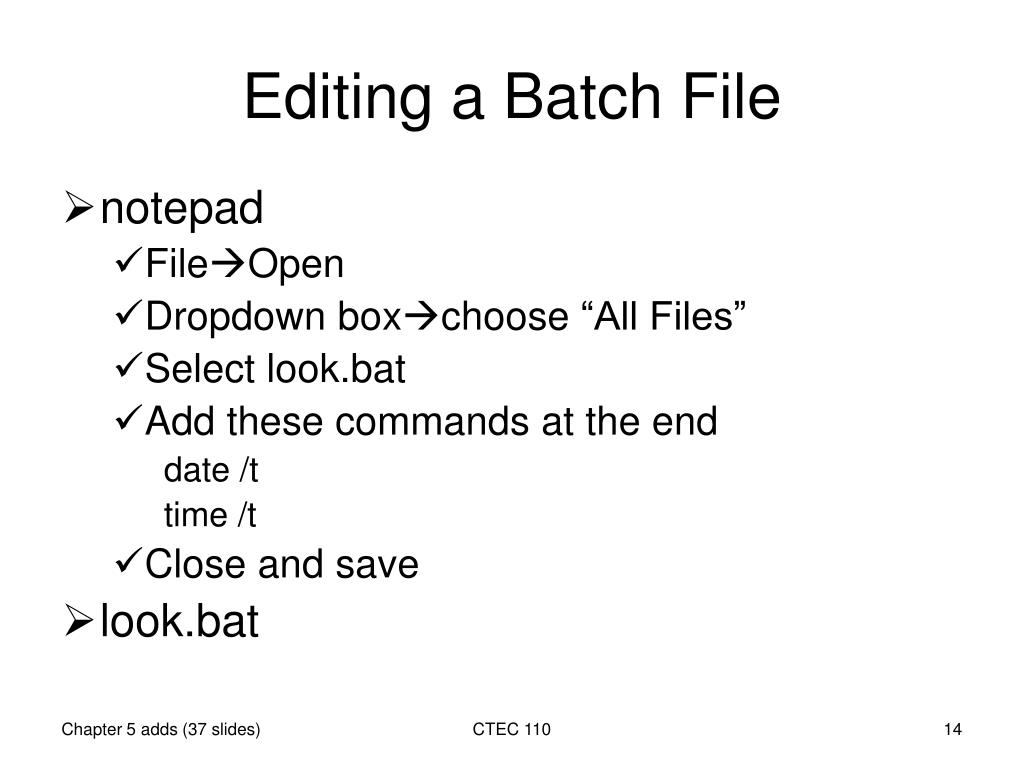 PPT - Batch script file PowerPoint Presentation - ID:3959369