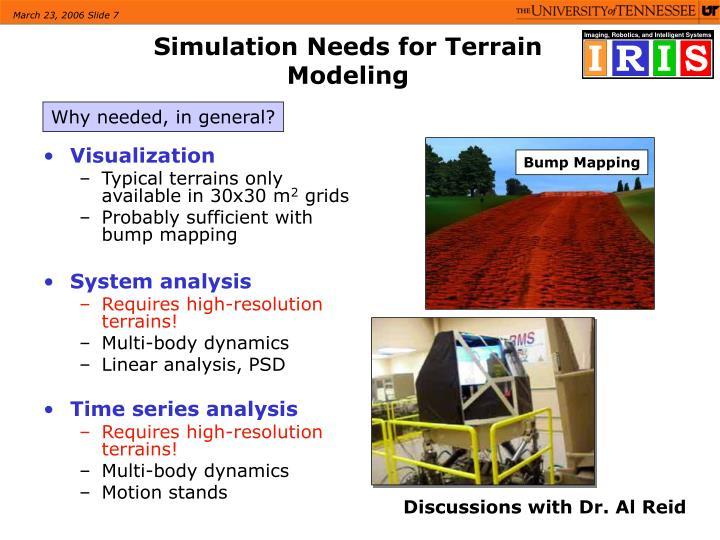 Simulation Needs for Terrain Modeling
