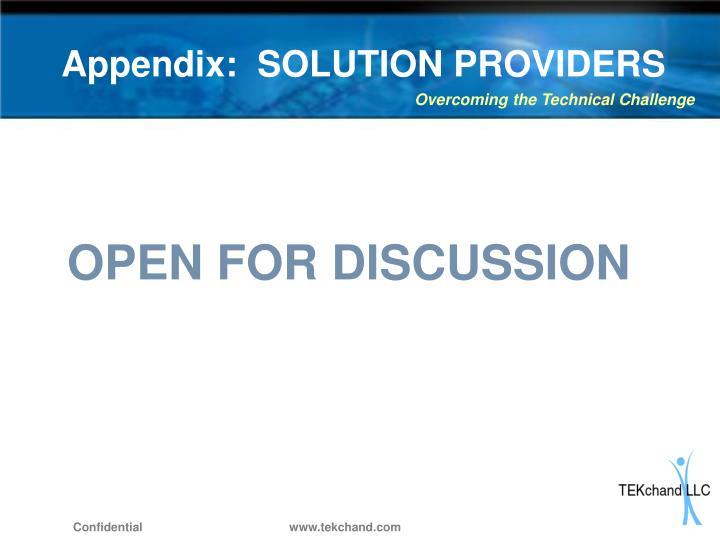 Appendix:  SOLUTION PROVIDERS