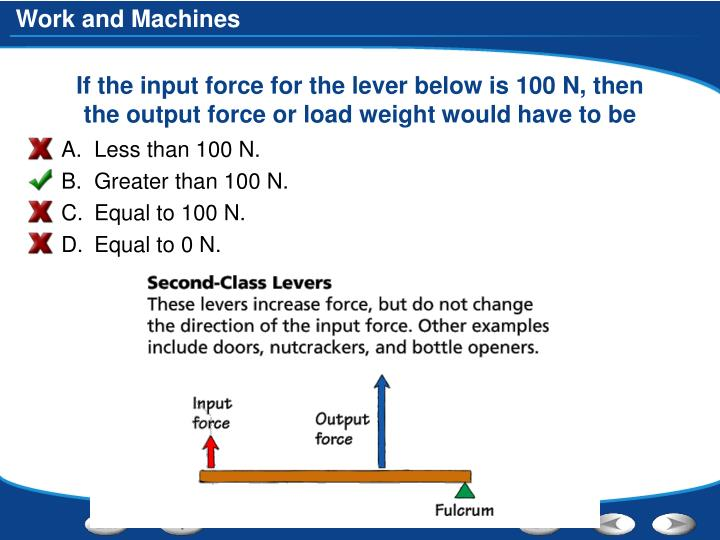 If the input force for the lever below is 100 N, then the output force or load weight would have to be