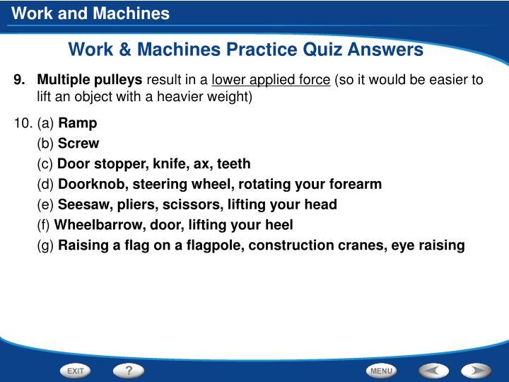 Work & Machines Practice Quiz Answers